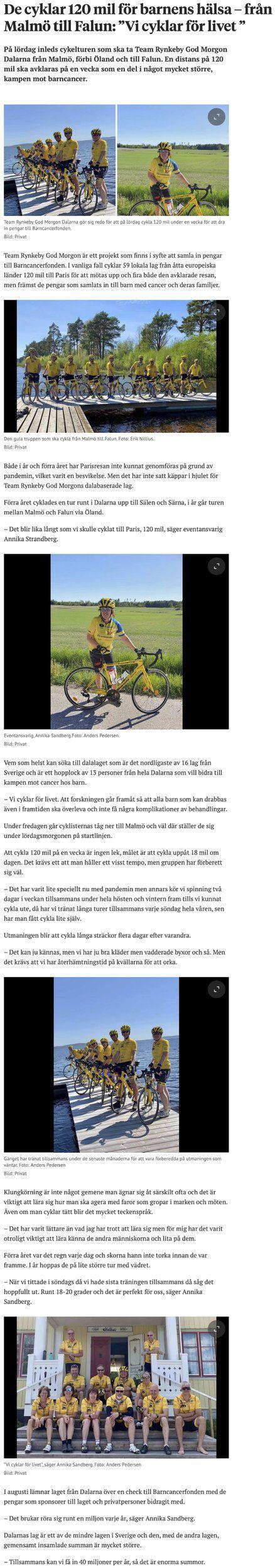 """De cyklar 120 mil för barnens hälsa – från Malmö till Falun: """"Vi cyklar för livet """".jpg"""