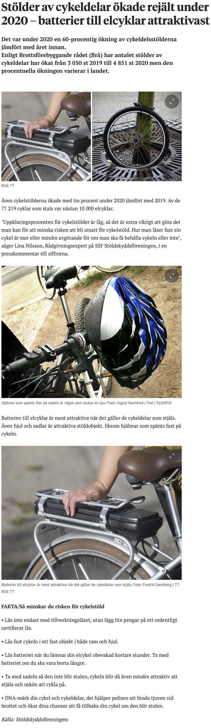 Stölder av cykeldelar ökade rejält under 2020 – batterier till elcyklar attraktivast.jpg