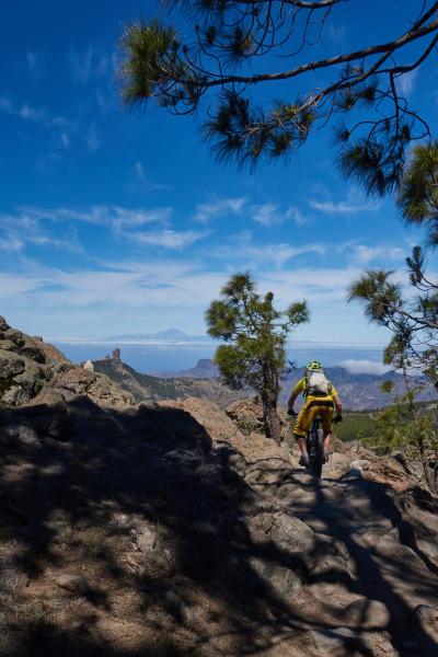 Marran cyklar i närheten av Pico de los Nieves. Roque nublos och Teneriffa  i bakgrunden.