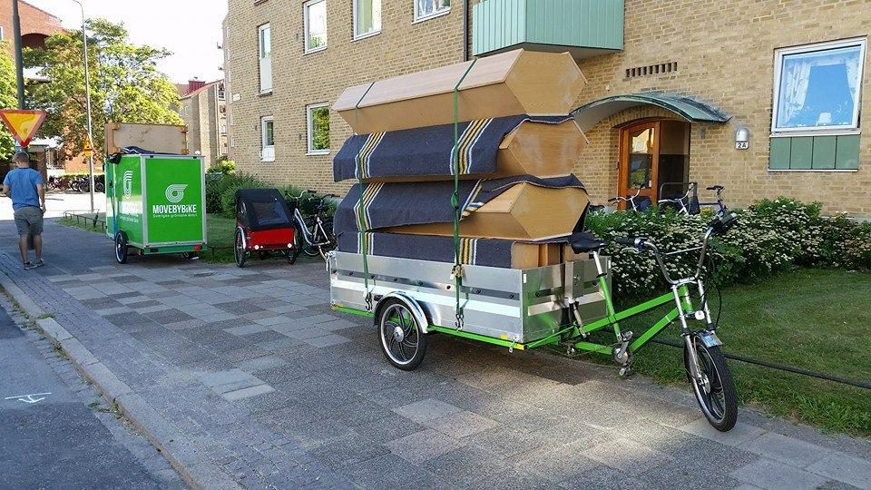 Hög last på cykel