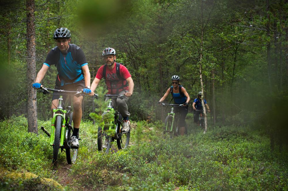 Enkel cykling på sandiga stigar i Altaälvens dalgång.