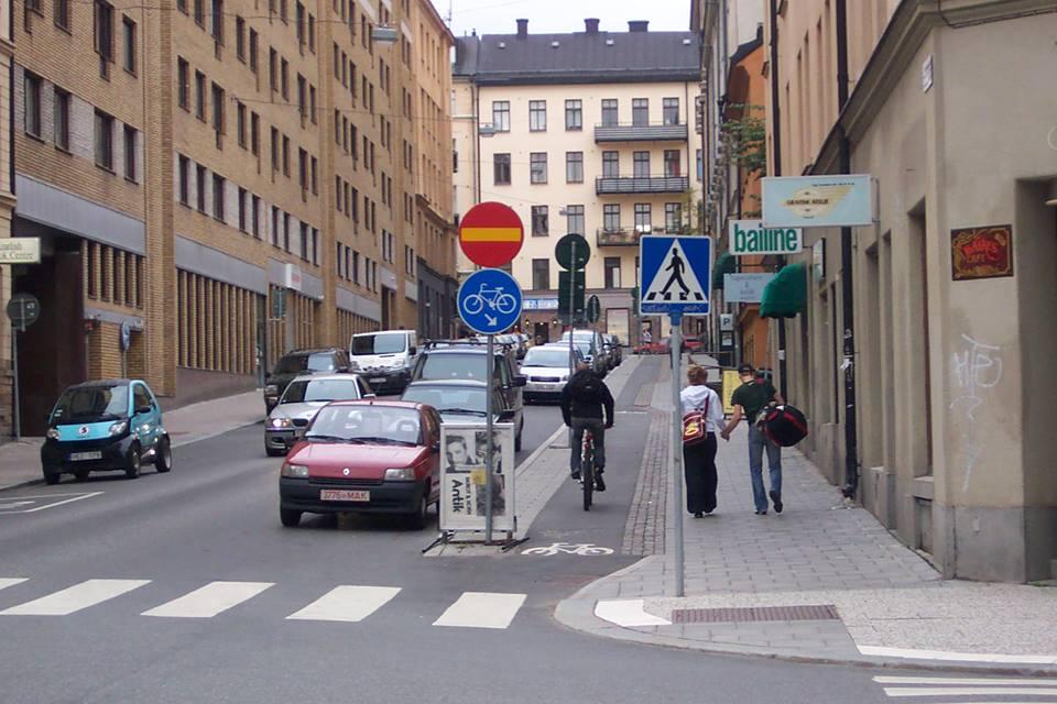 Enkelriktad cykelbana i Stockholm