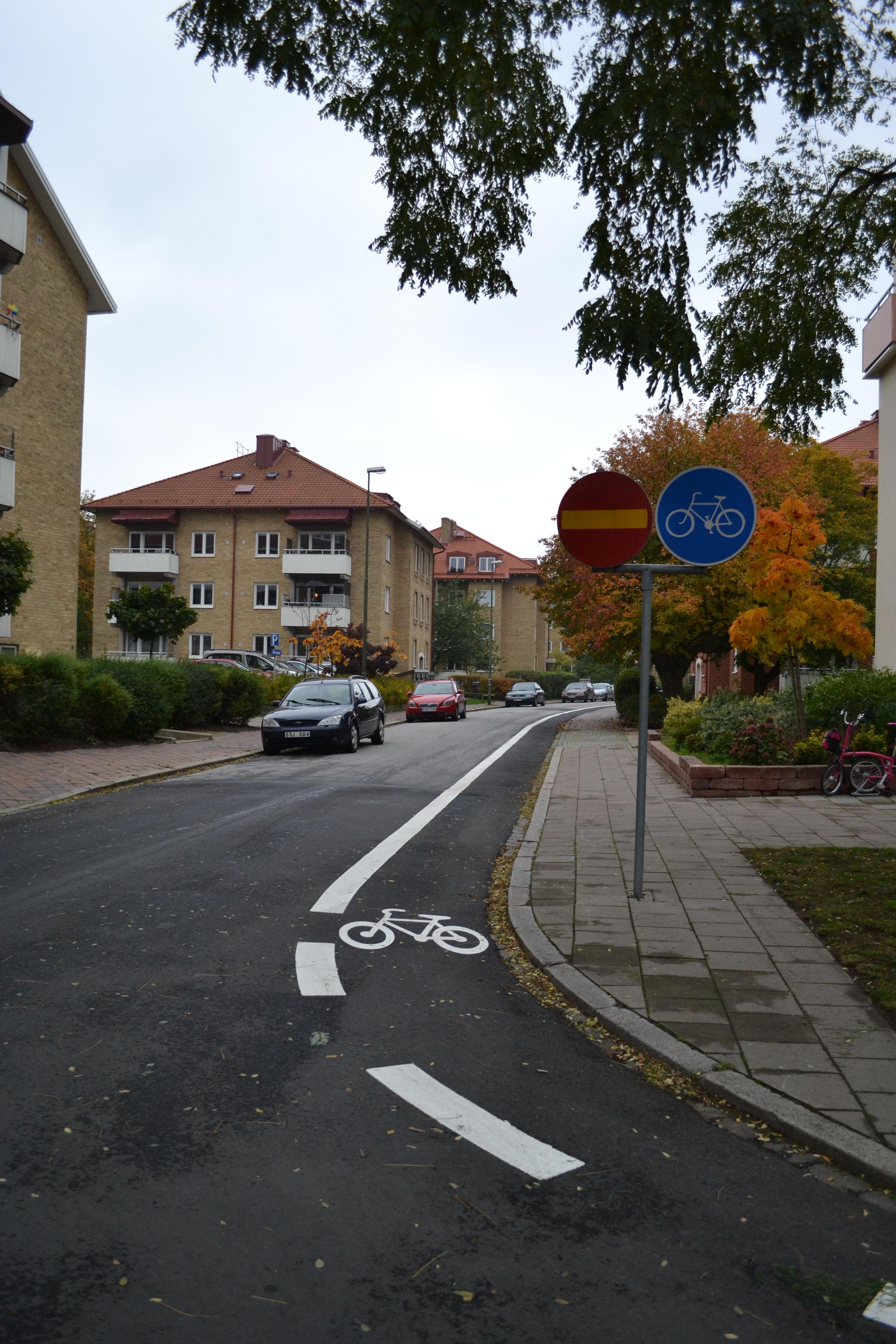 Enkelriktad cykelbana i Malmö