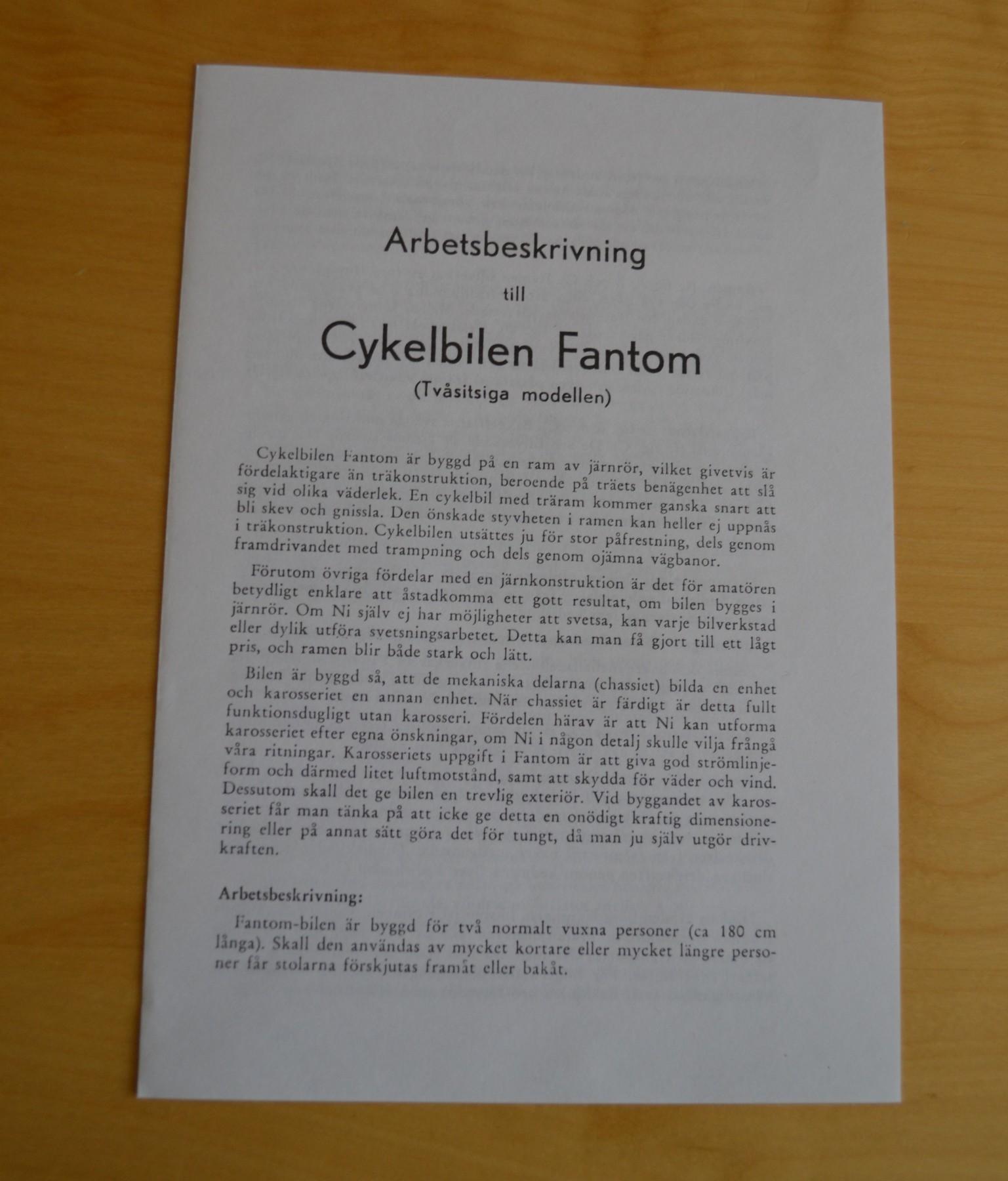 Arbetsbeskrivning till cykelbilen Fantom