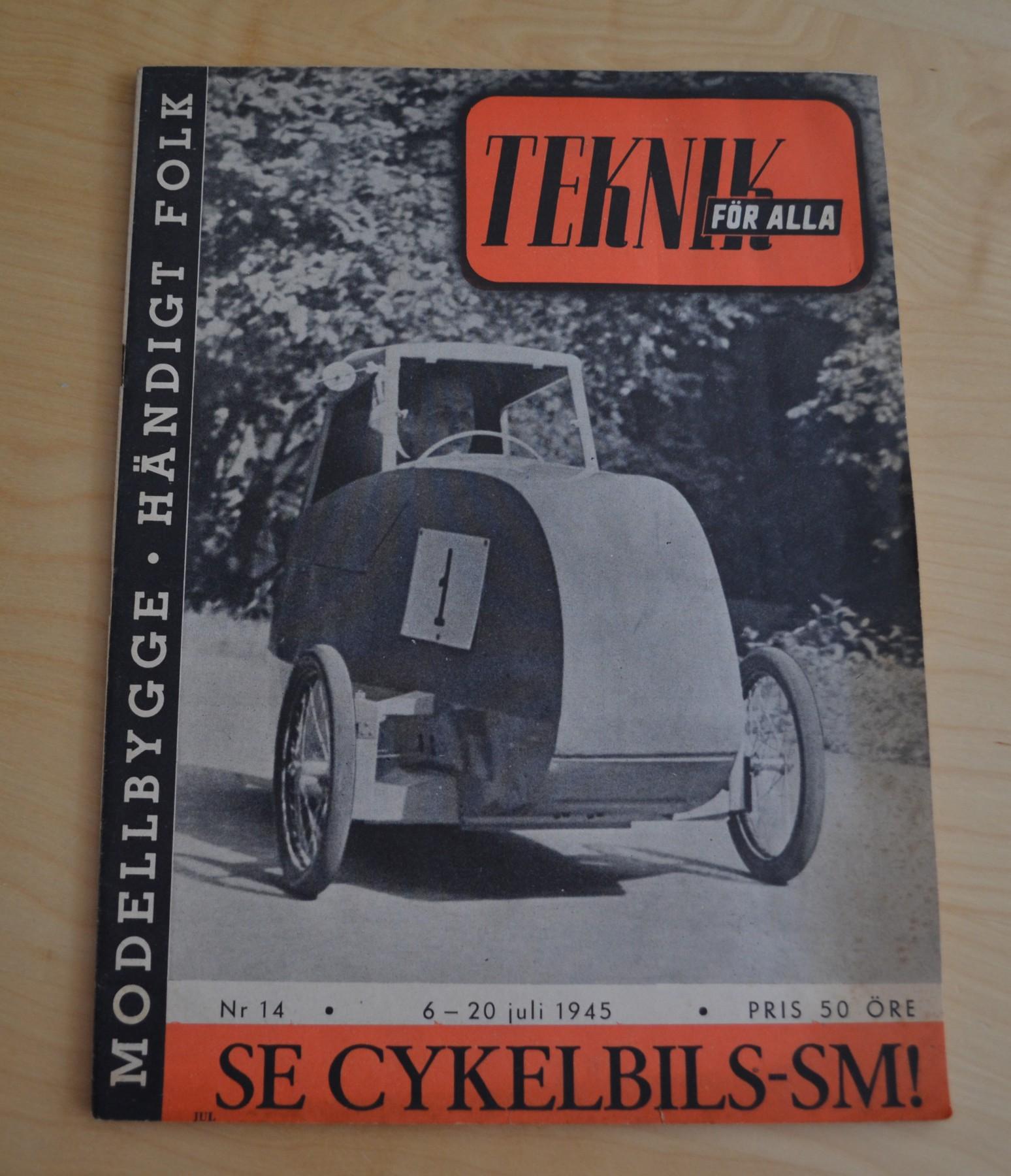 Göran Dahlin, segrare i enmannaklassen i världens första cykelbilsmästerskap.