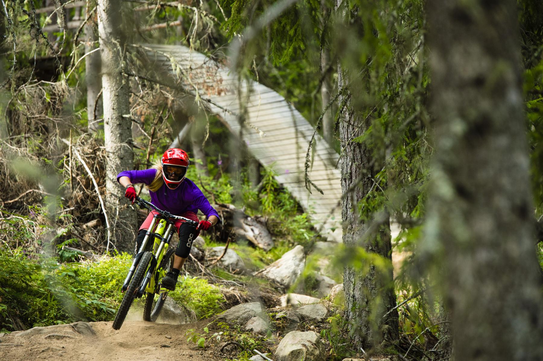 Elin Nilsson riding in Järvsö Bergscykelpark, Hälsingland, Sweden.
