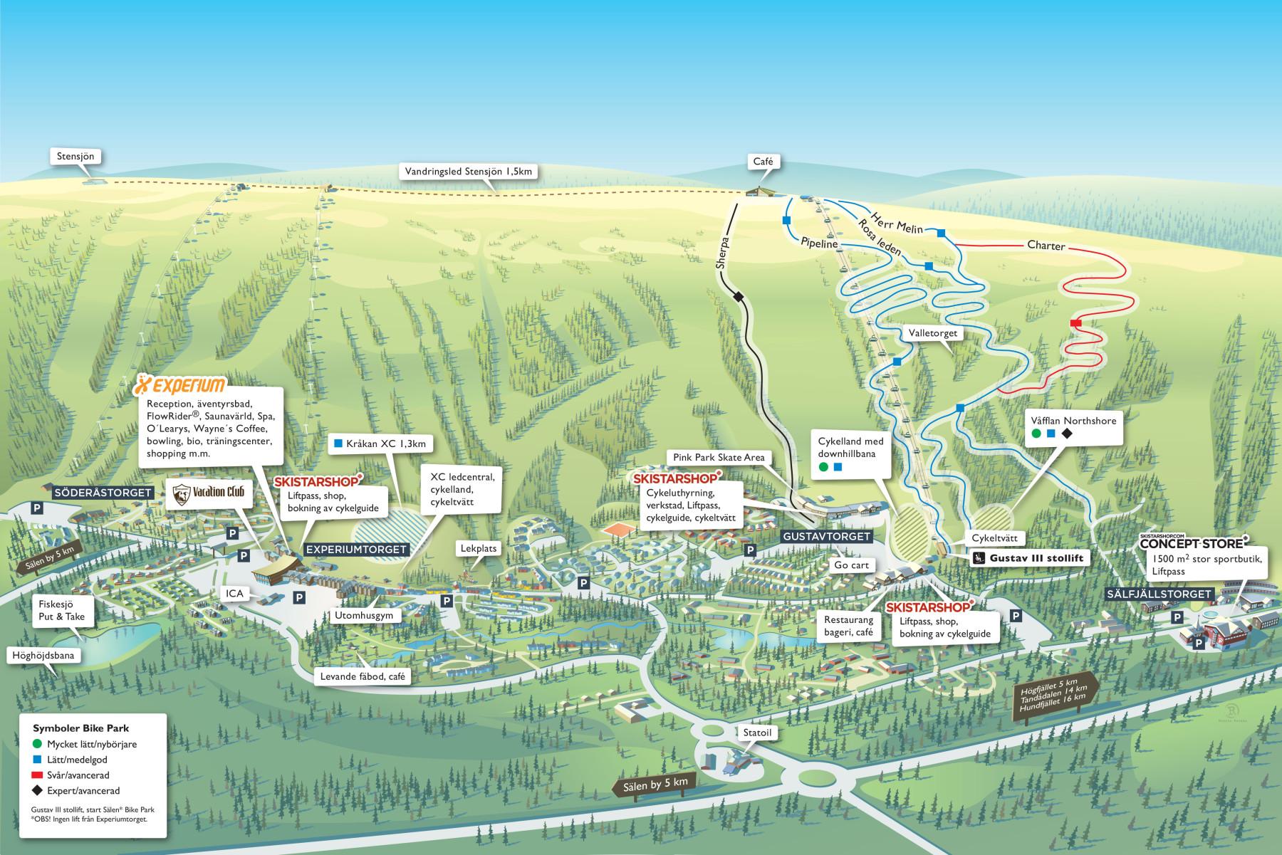 Sälen BIke park ledkarta
